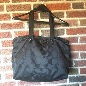 Coach weekender tote black icon pattern EUC